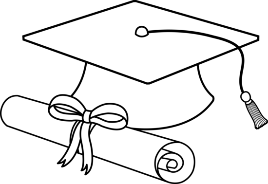 Outline of graduation cap and diploma