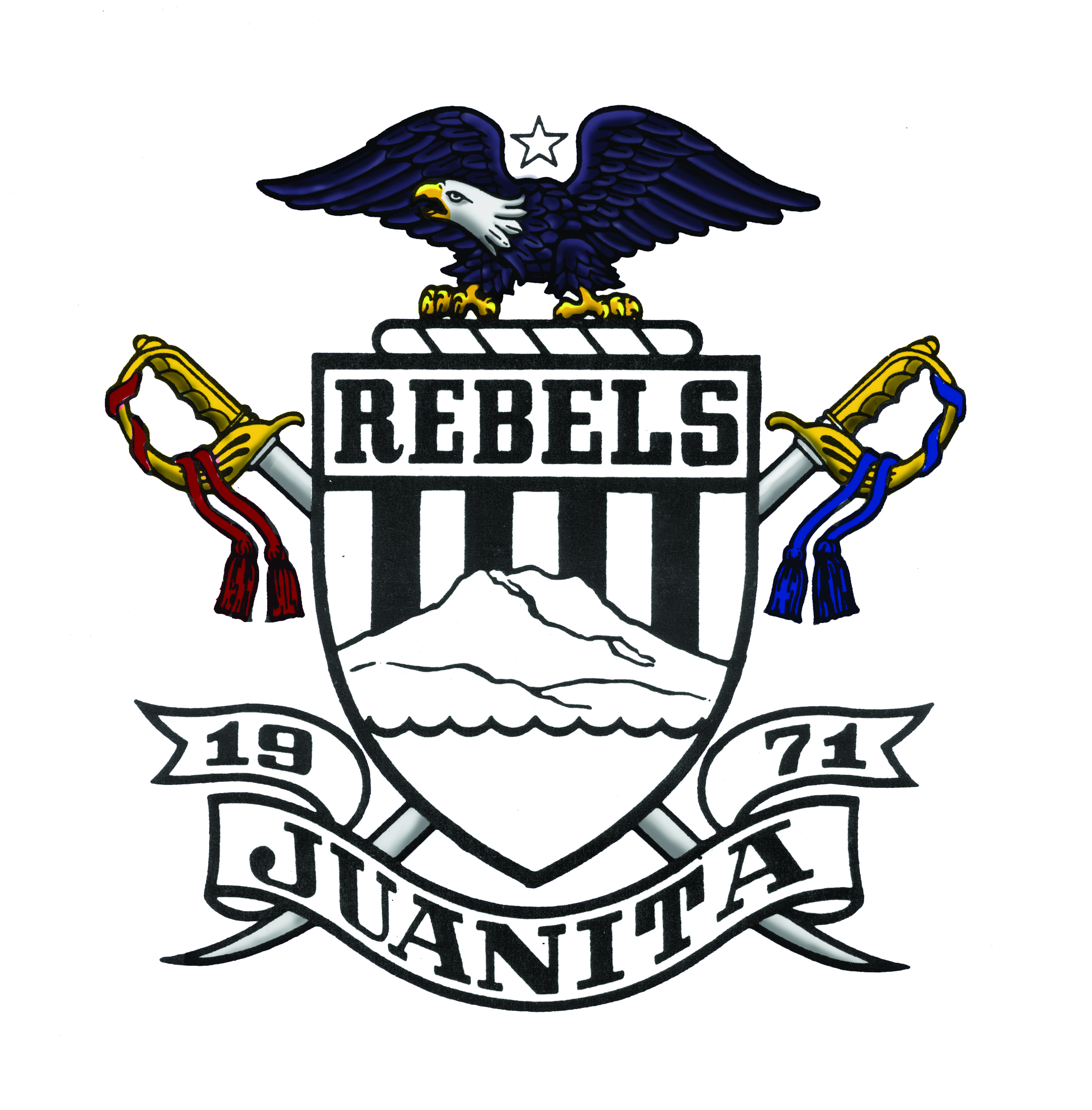 JHS school crest with eagle on top. Says Rebels, 1971, and Juanita
